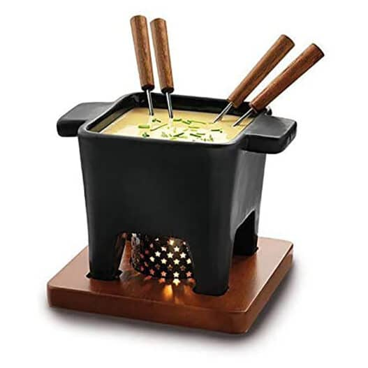 Set per fonduta in porcellana nera con base in legno e 4 forchettine
